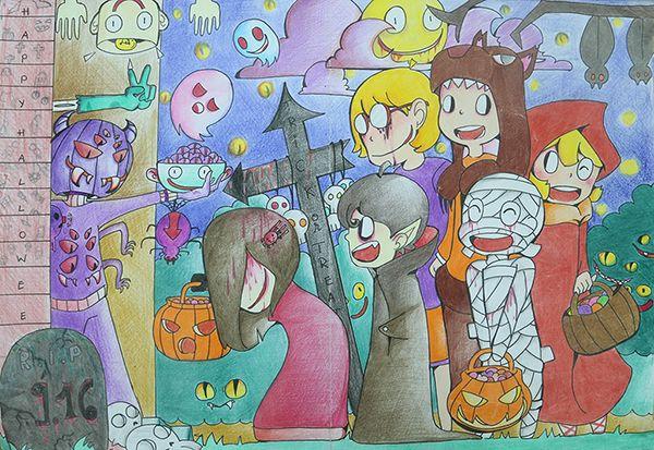 Bức tranh vẽ về halloween đẹp