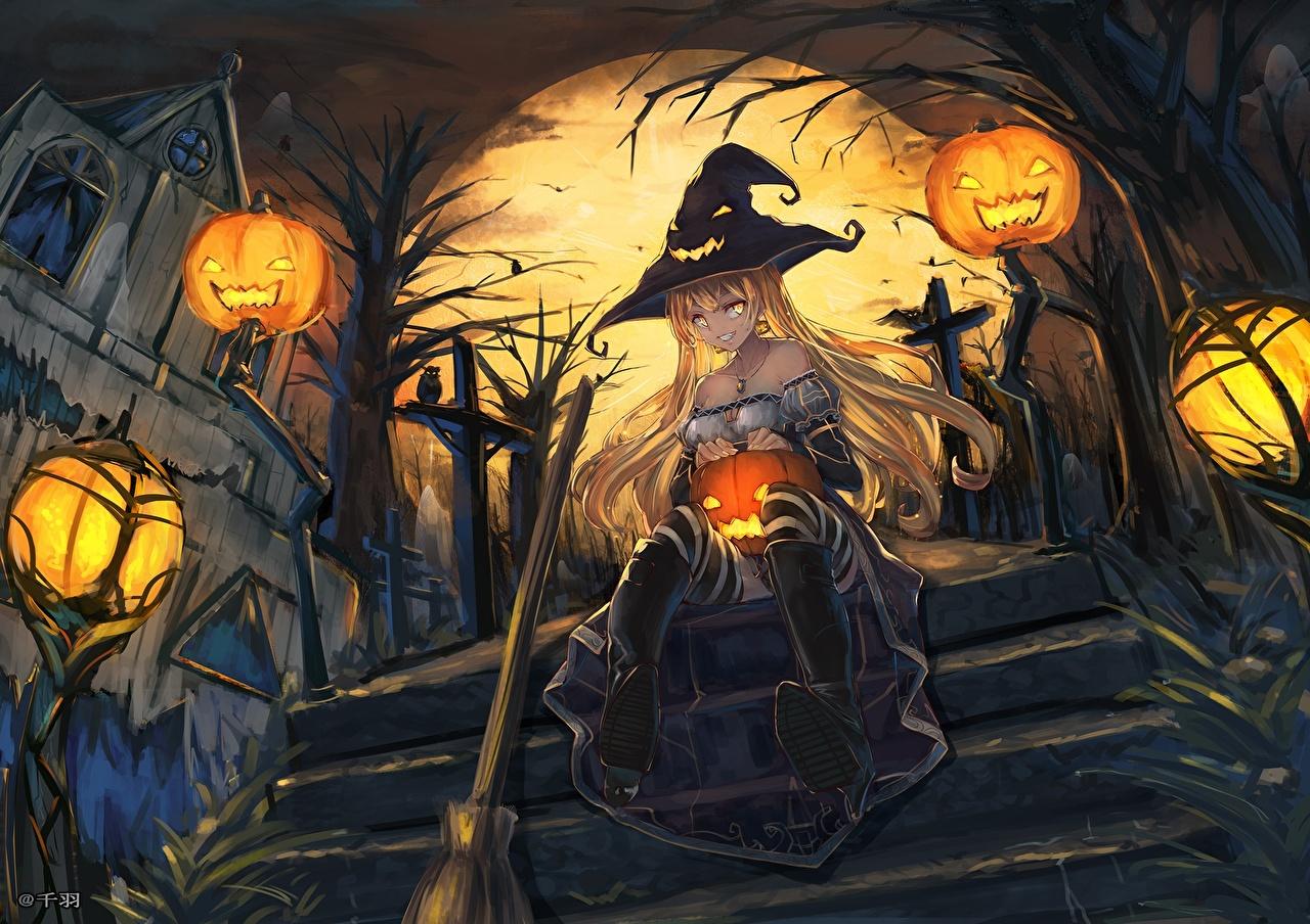 Hình anime halloween phù thủy