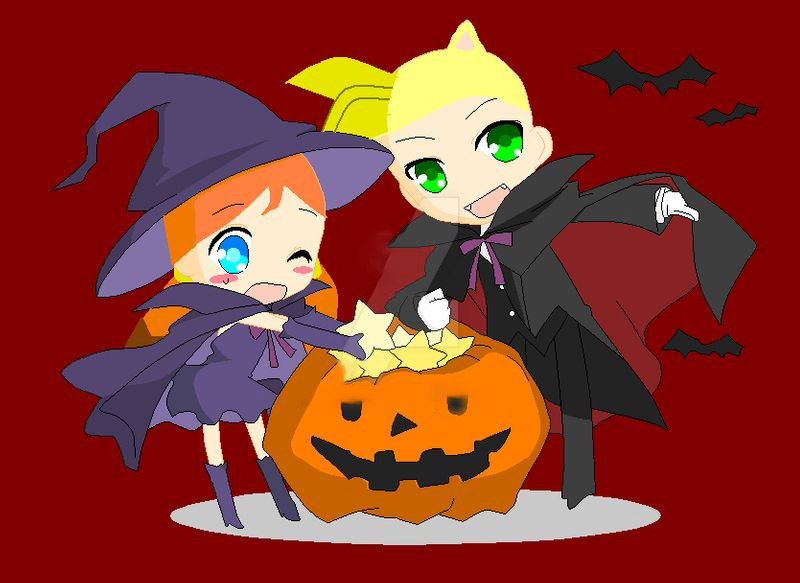 Hình vẽ anime chibi halloween