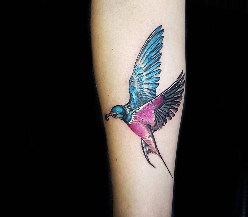 Hình xăm đẹp nhất về chim én nhỏ