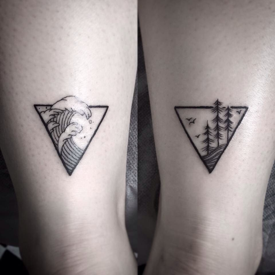Hình xăm tam giác phong cảnh