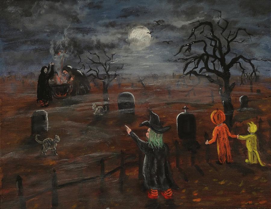 Tranh halloween sơn dầu