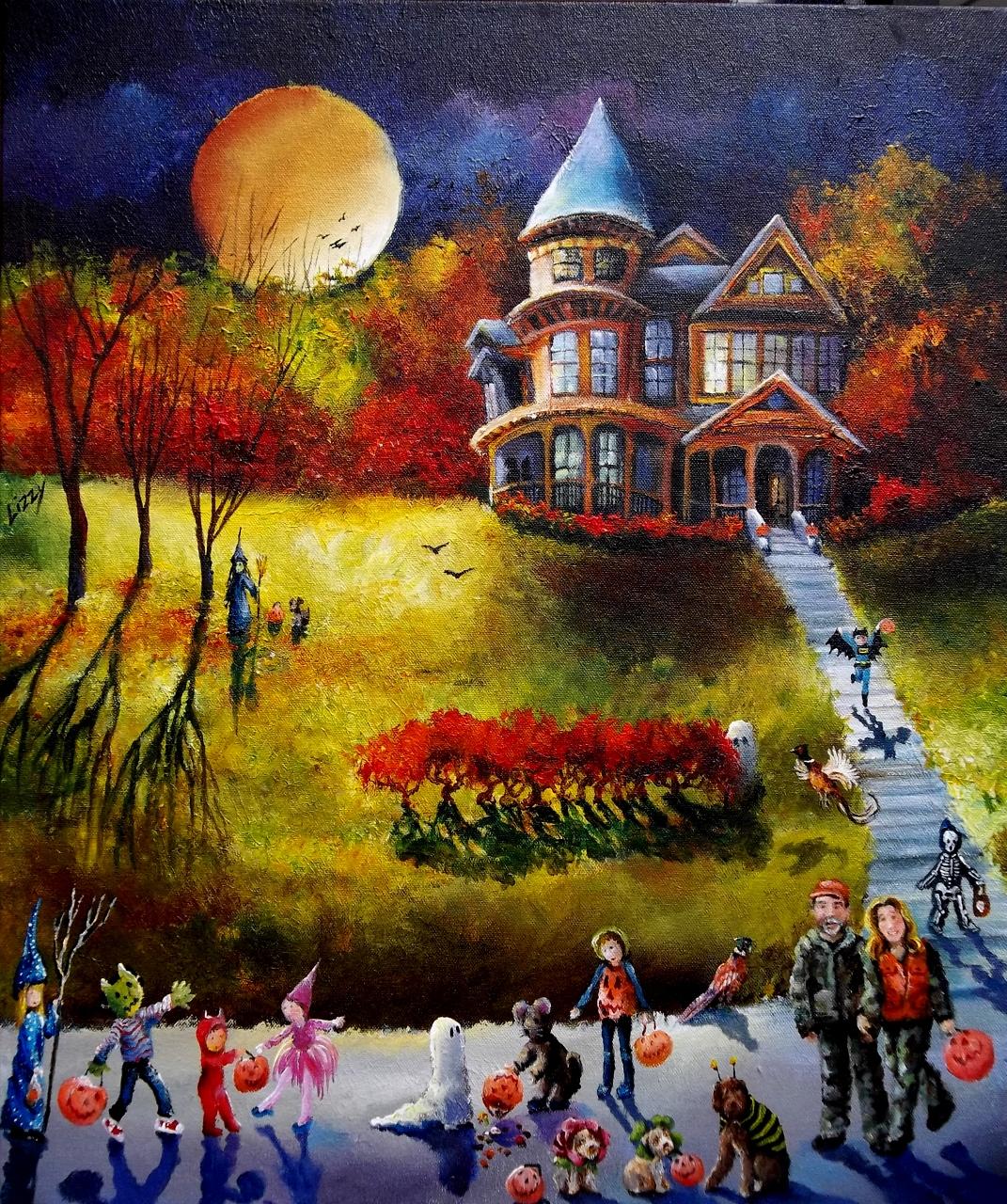 Tranh sơn dầu đêm halloween