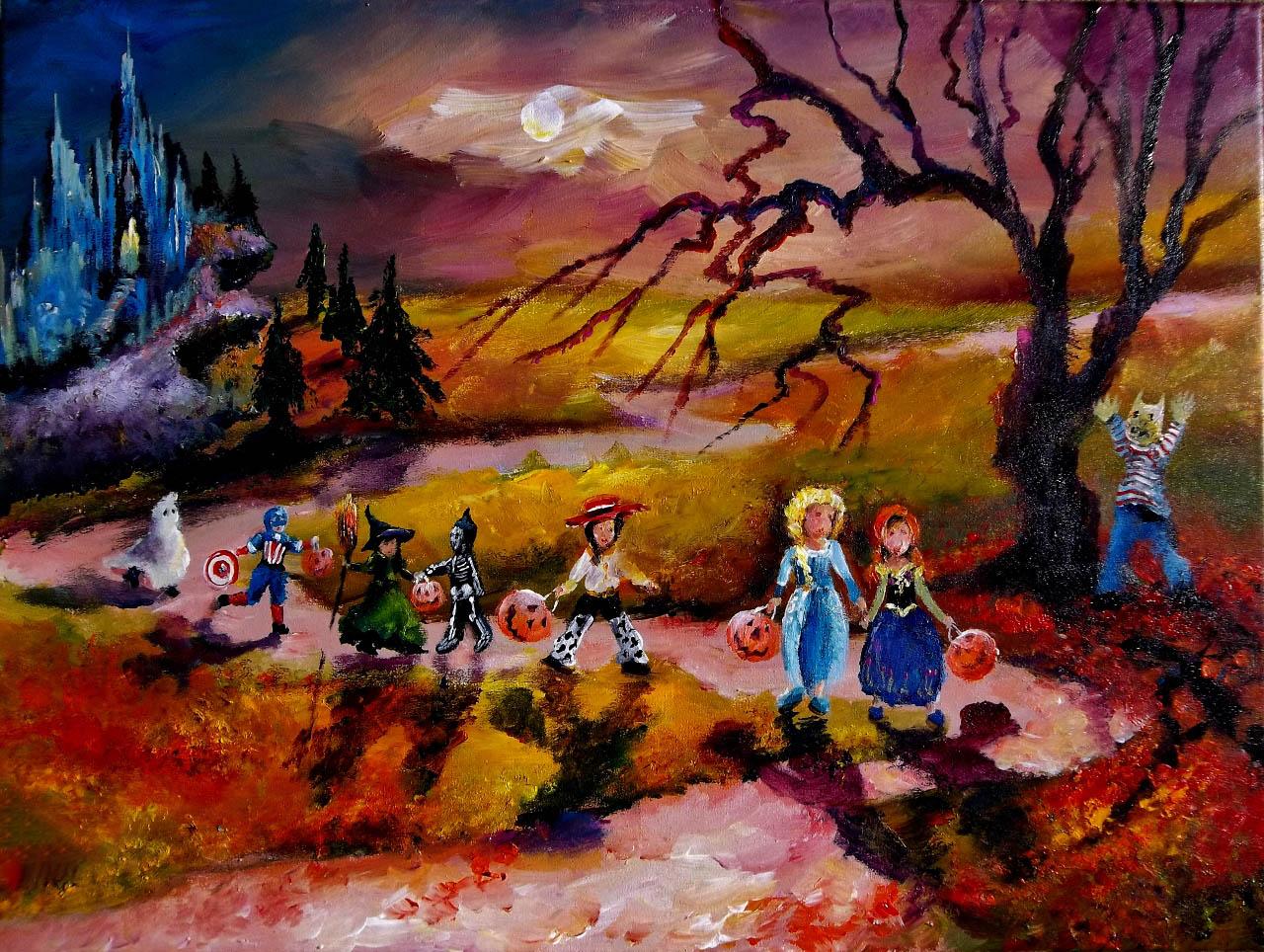 Tranh sơn dầu halloween đẹp