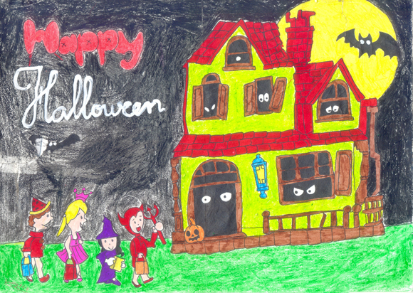 Tranh tô màu halloween của học sinh