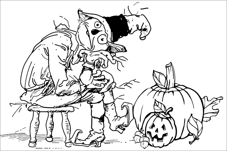 Tranh vẽ halloween đen trắng