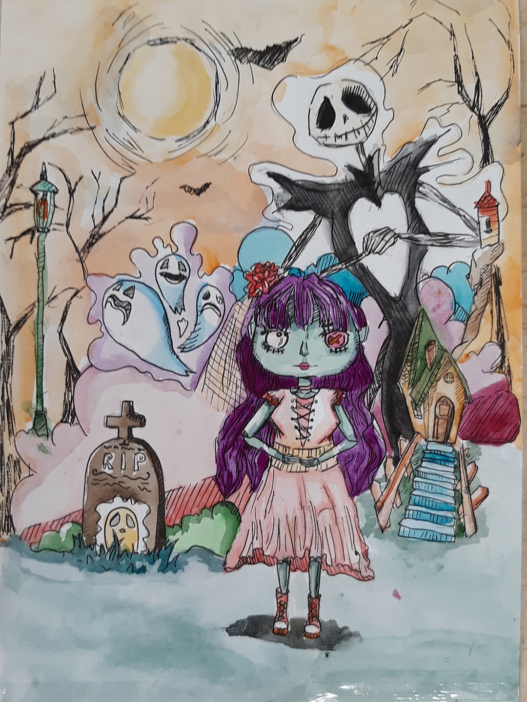 Tranh vẽ lễ hội halloween lớp 9
