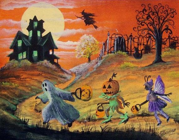 Tranh vẽ tay đề tài halloween
