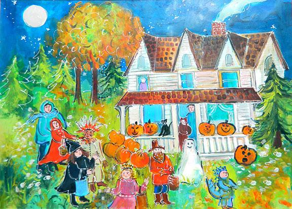 Tranh vẽ trò chơi halloween