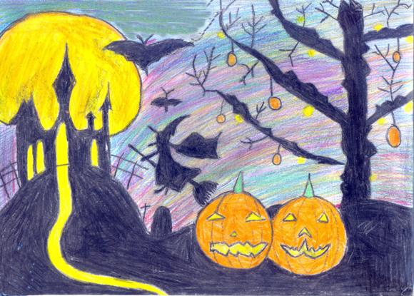 Vẽ tranh halloween đơn giản