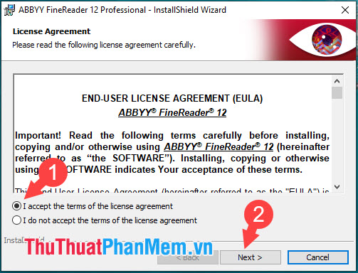 Tích chọn I accept the terms of the license agreement