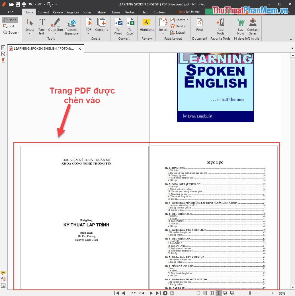 Kết quả sau khi thêm trang PDF xong