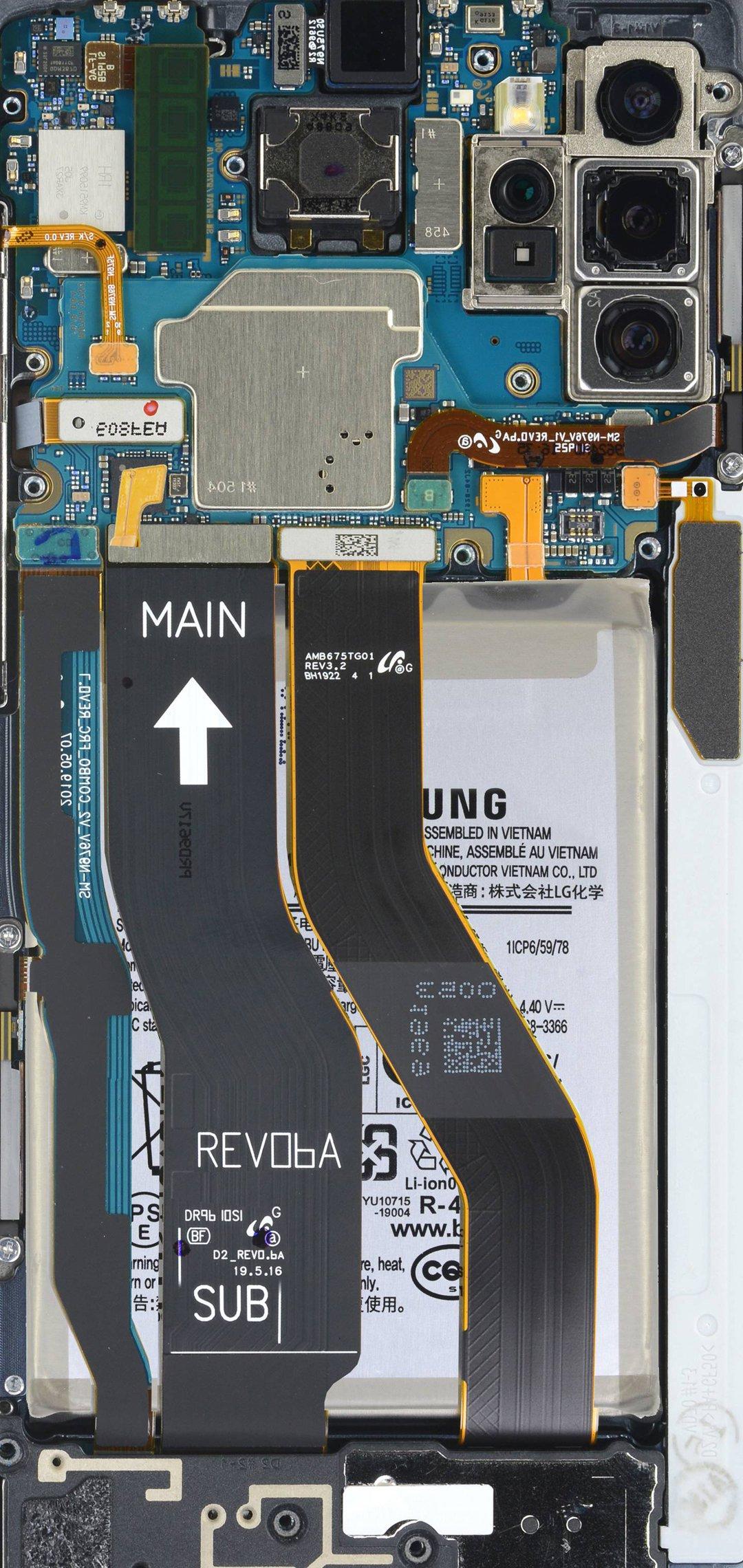 Ảnh nền khoe linh kiện Samsung Note 10