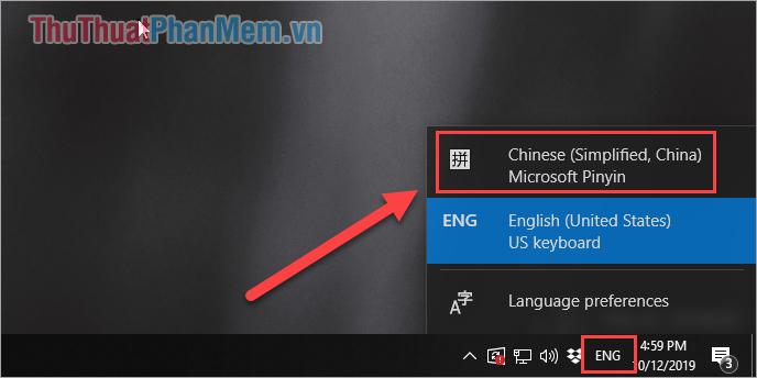 Chọn biểu tượng ngôn ngữ và chọn Chinese