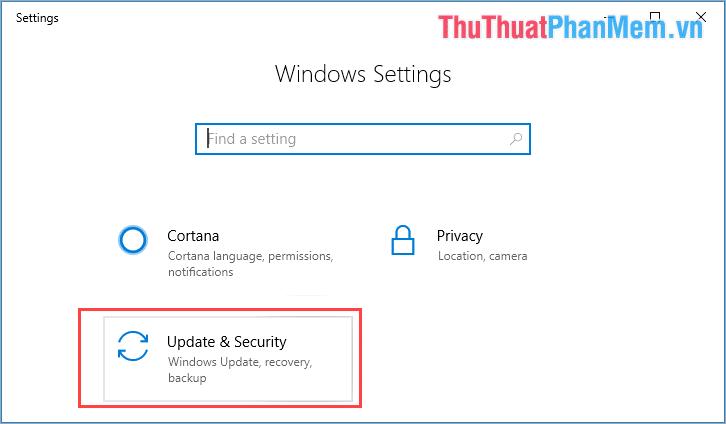 Chọn Update & Security