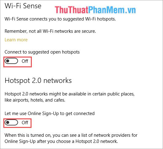 Chọn Wifi và tắt tính năng Wifi Sense và Hotspot