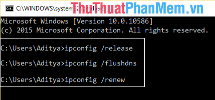 Nhập các lệnh release flushdns renew