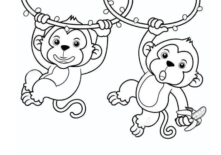Hình ảnh tô màu con khỉ cho bé