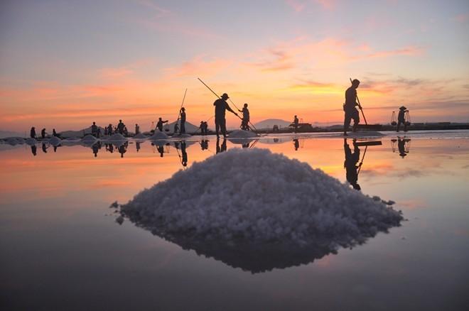 Hình ảnh bình minh trên làng làm muối