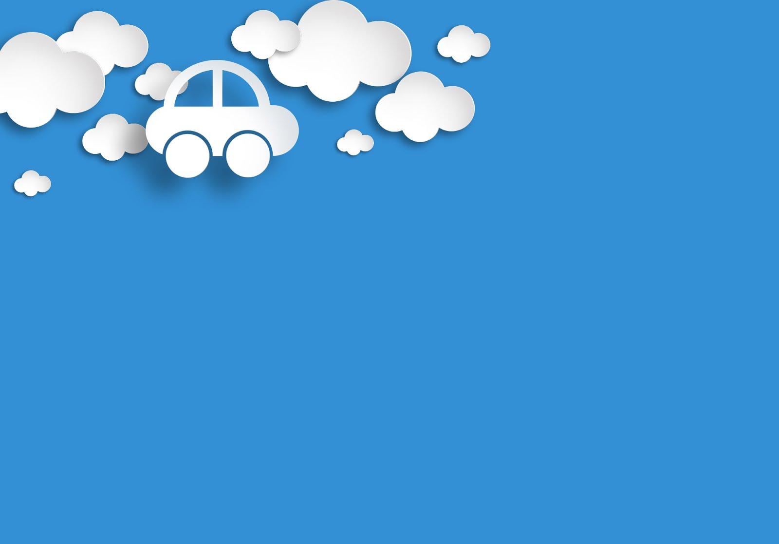 Background cho PowerPoint xe taxi trên đám mây