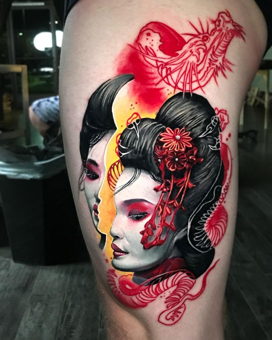 Hình xăm chân dung geisha