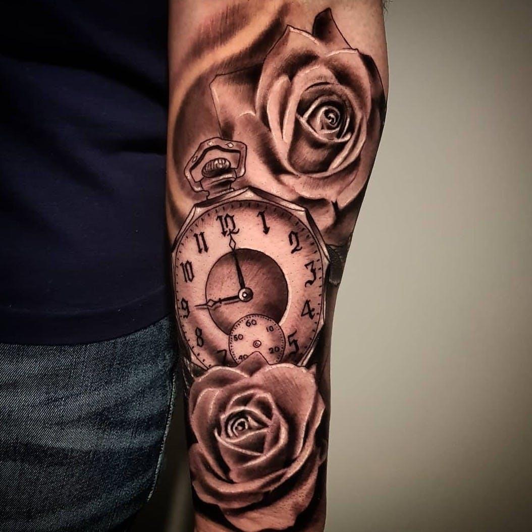 Hình xăm đồng hồ cánh tay đẹp nhất