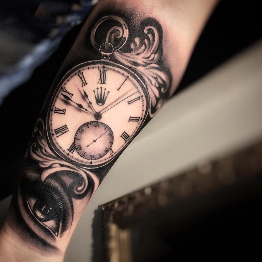 Hình xăm đồng hồ cho nam