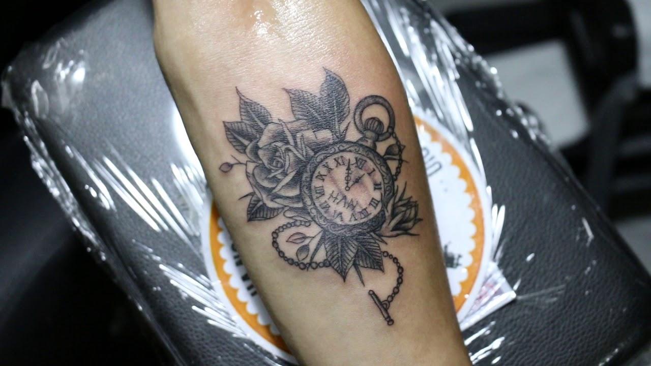 Hình xăm đồng hồ đẹp