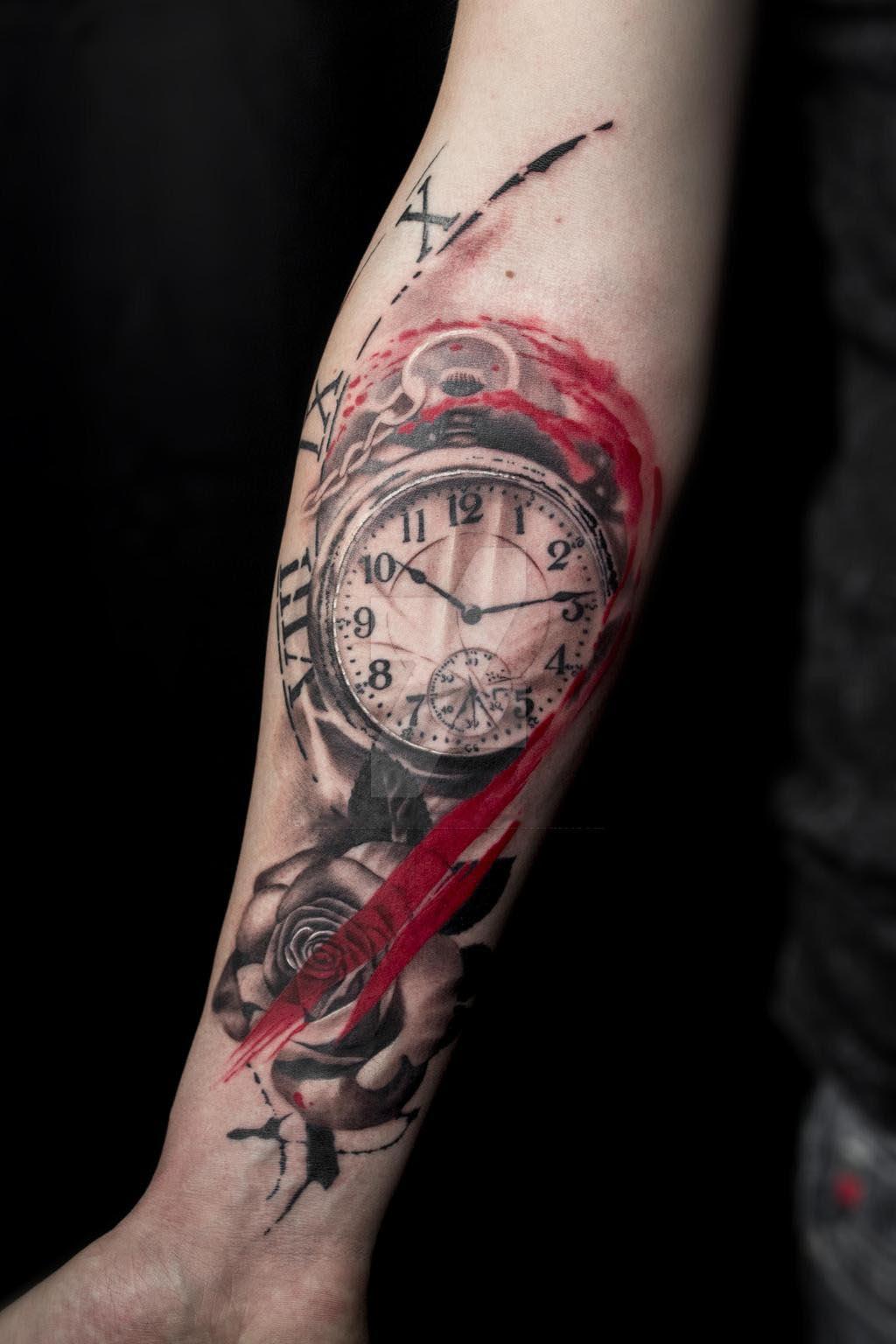 Hình xăm đồng hồ ở tay