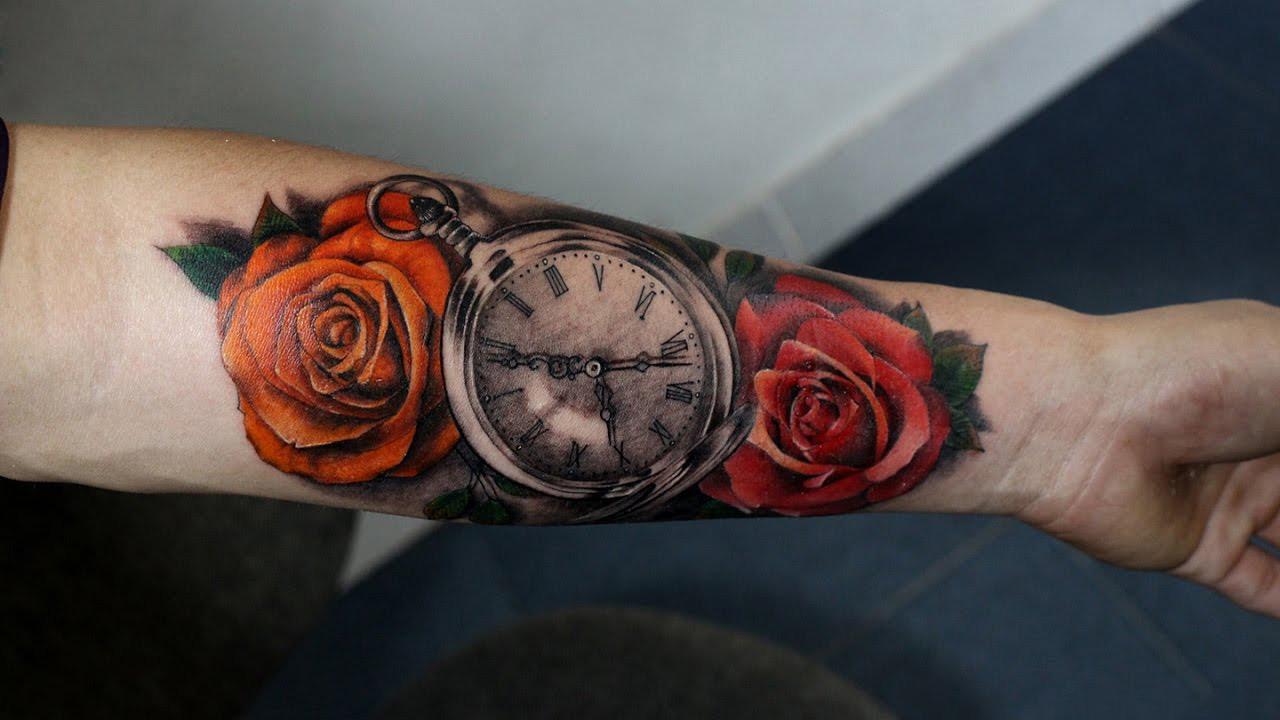 Hình xăm đồng hồ và hoa hồng đẹp nhất