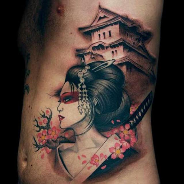 Hình xăm geisha 3D đẹp