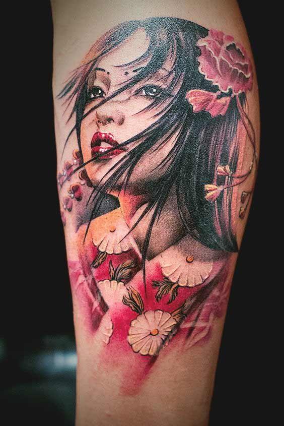 Hình xăm geisha 3D