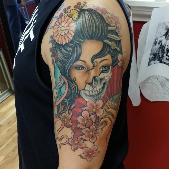 Hình xăm geisha and samurai