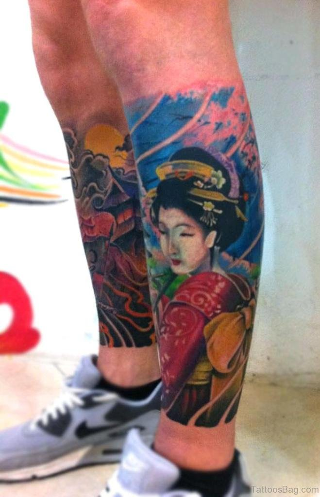 Hình xăm geisha ở bắp chân đẹp nhất