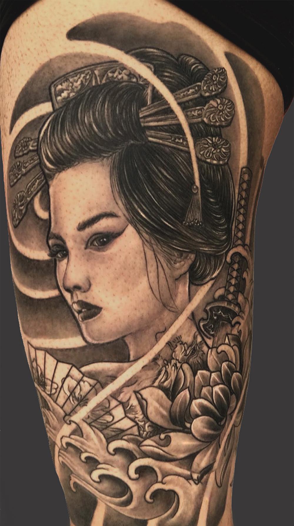Hình xăm Geisha ở tay
