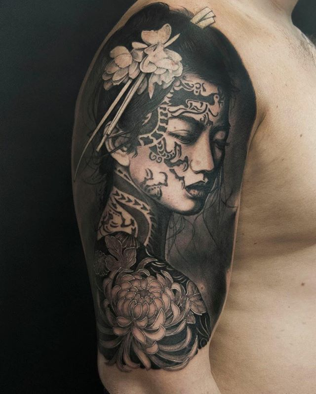Hình xăm geisha và hoa đẹp nhất