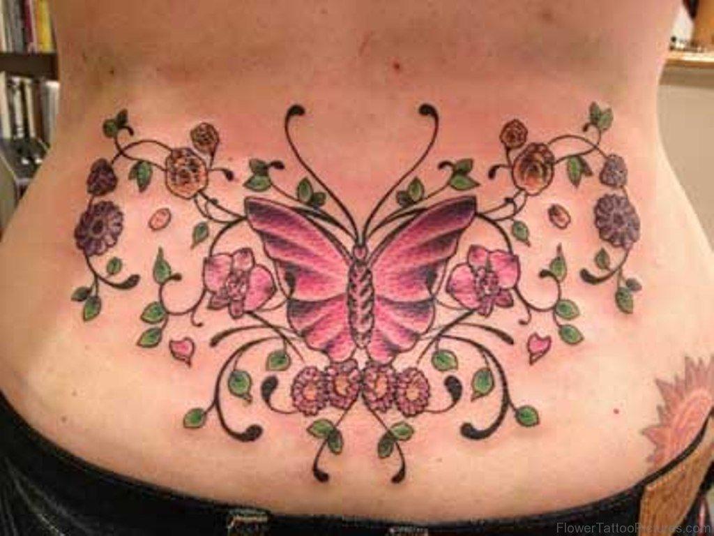 Hình xăm hoa và bướm