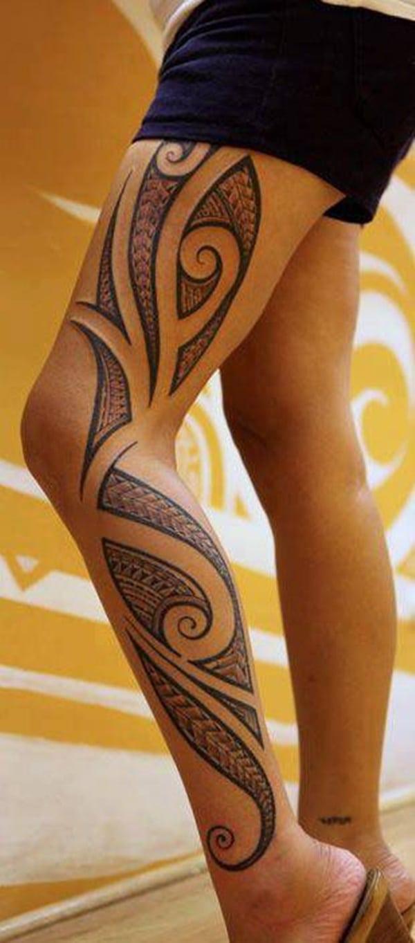Hình xăm Maori đơn giản nhất ở chân