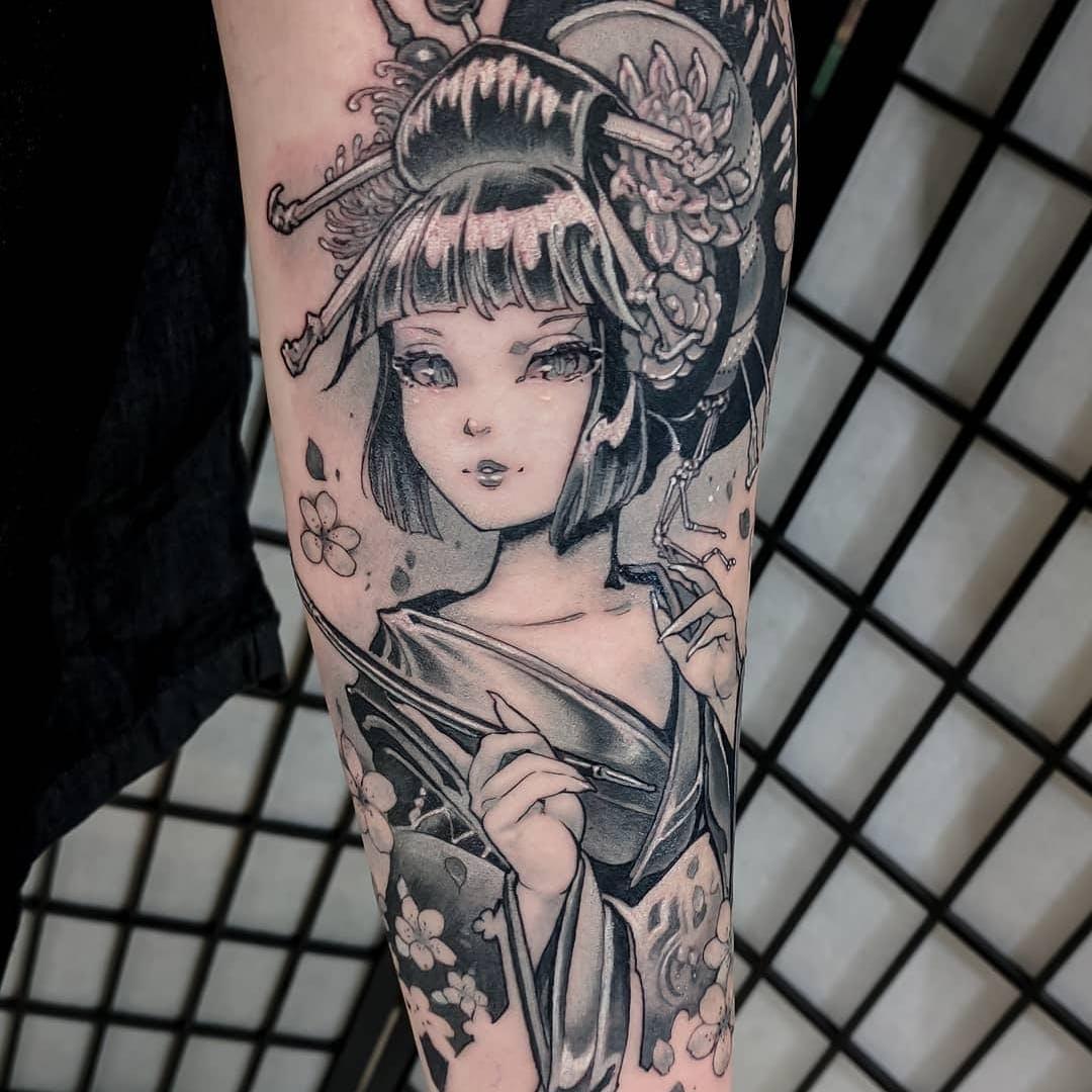 Hình xăm nàng geisha
