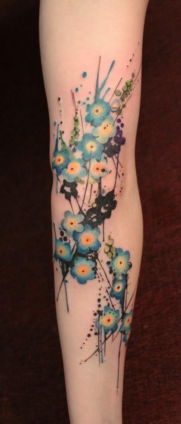 Hình xăm những bông hoa xanh