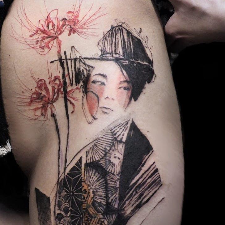 Hình xăm nữ geisha đẹp
