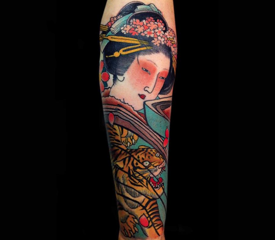Hình xăm nữ geisha full tay
