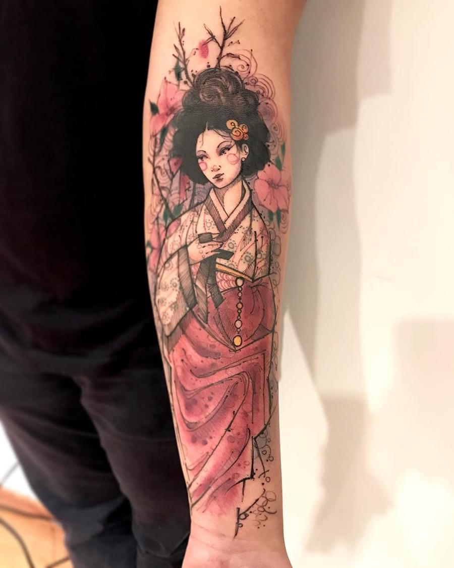 Hình xăm nữ geisha thổi sáo