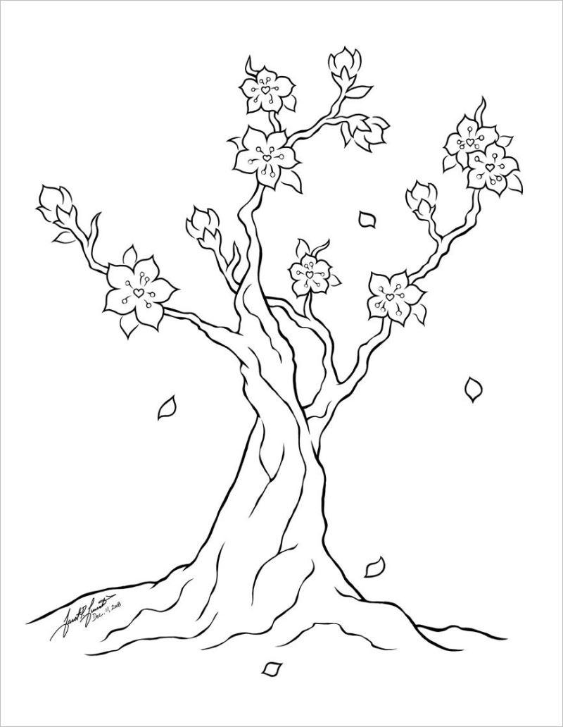 Tranh tô màu hoa mai đơn giản nhất cho bé tập tô