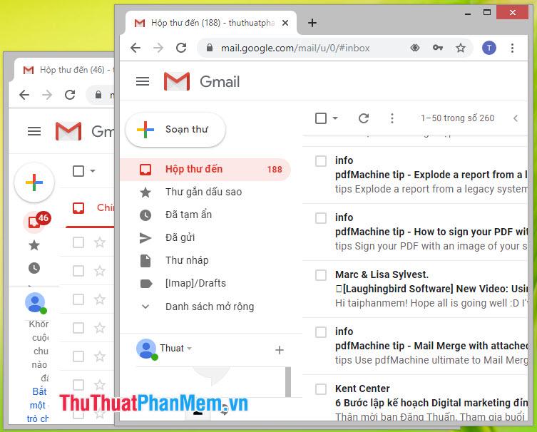 Lúc này chúng ta sẽ có hai cửa sổ Chrome làm việc riêng biệt, bạn có thể đăng nhập Gmail