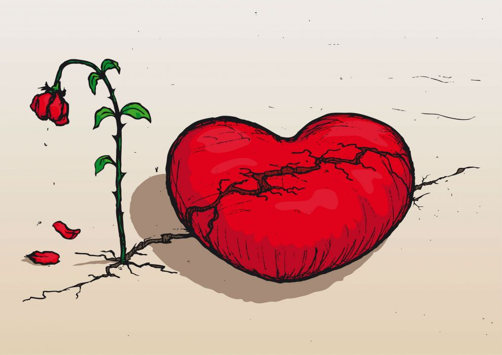Ảnh trái tim buồn héo tàn