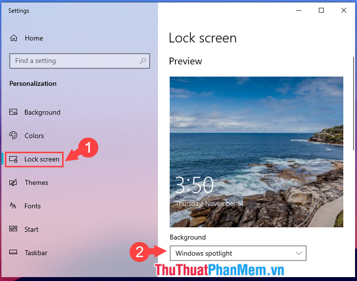 Thay đổi Background thành Windows spotlight