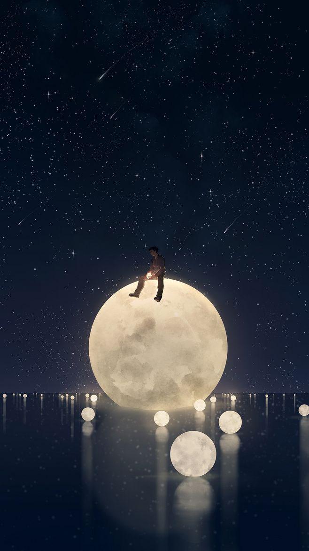 Ảnh bầu trời đêm trăng sao đẹp