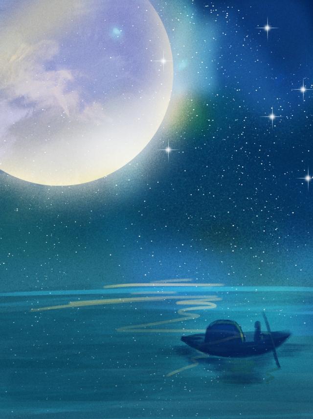 Hình ảnh 3D bầu trời đêm trăng sao