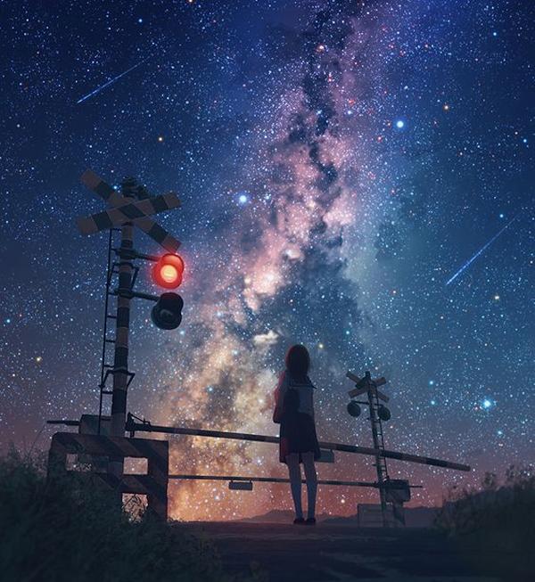 Hình ảnh bầu trời đêm anime